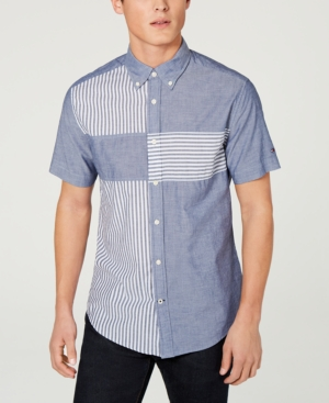3f2d785f Tommy Hilfiger Men'S Wainwright Custom Fit Stripe-Block Shirt, Created For  Macy'S In Navy