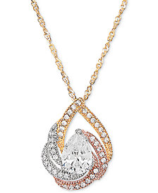"Cubic Zirconia Tri-Color Swirl 18"" Pendant Necklace in 14k Tricolor Gold-Plated Sterling Silver"