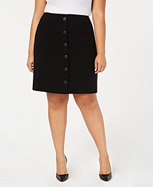 Nine West Plus Size Button-Down Skirt