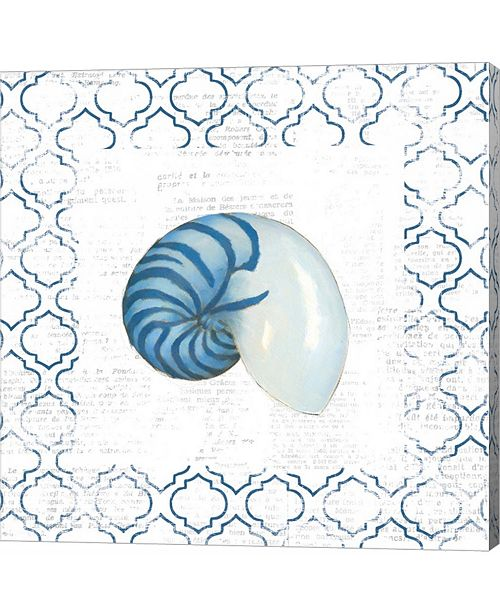 Metaverse Navy Nautilus Shell on Newsprint by Emily Adams Canvas Art