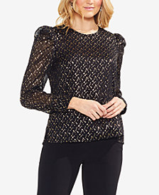 Vince Camuto Metallic Puff-Shoulder Top