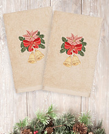 Linum Home Christmas Bells 100% Turkish Cotton 2-Pc. Hand Towel Set