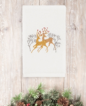 Image of Closeout! Linum Home Christmas Deer 100% Turkish Cotton Hand Towel Bedding