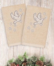 CLOSEOUT!  Christmas Dove 100% Turkish Cotton 2-Pc. Hand Towel Set
