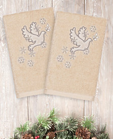 Linum Home Christmas Dove 100% Turkish Cotton 2-Pc. Hand Towel Set