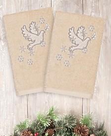 CLOSEOUT! Linum Home Christmas Dove 100% Turkish Cotton 2-Pc. Hand Towel Set
