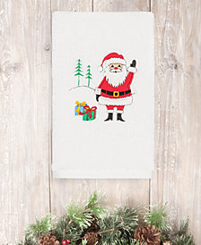 CLOSEOUT! Linum Home Christmas Santa Waving 100% Turkish Cotton Hand Towels