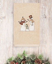CLOSEOUT!  Linum Home Christmas Snow Family 100% Turkish Cotton Hand Towel