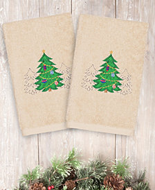Linum Home Christmas Three Trees 100% Turkish Cotton 2-Pc. Hand Towel Set