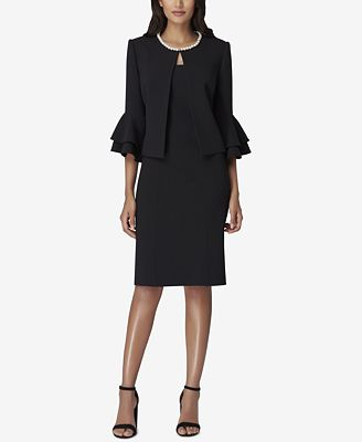 Tahari Asl Imitation Pearl Trim Dress Suit Wear To Work Women