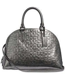 COACH Metallic Signature Leather Quinn Satchel