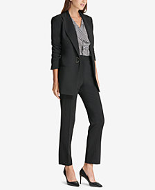 DKNY D-Ring Blazer, Ruffled Shell & Skinny Pants, Created for Macy's