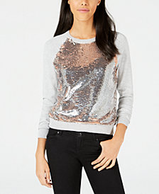 Bar III Sequined Raglan Sweatshirt, Created for Macy's