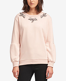 DKNY Beaded Balloon-Sleeve Sweater, Created for Macy's