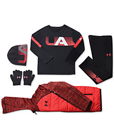 Under Armour Little Boys Hooded Jacket, Logo-Print T-Shirt, Brawler 2.0 Pants & Big Boys Hat & Gloves Set
