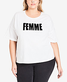 City Chic Trendy Plus Size Femme Faux-Fur T-Shirt