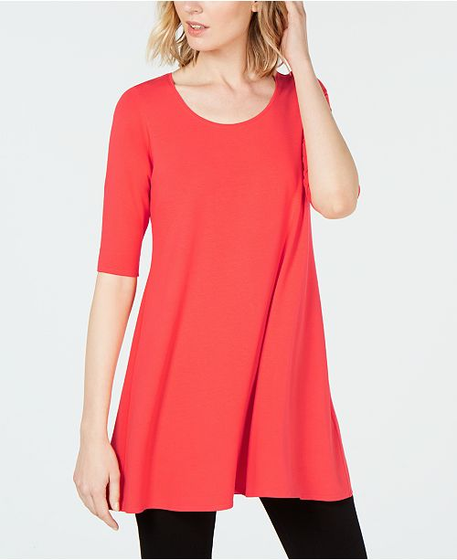 2ce7c75495e Eileen Fisher Stretch Jersey Elbow-Sleeve Tunic, Created for Macy's ...