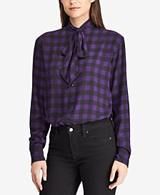 Lauren Ralph Lauren Plaid Ruffled Georgette Shirt