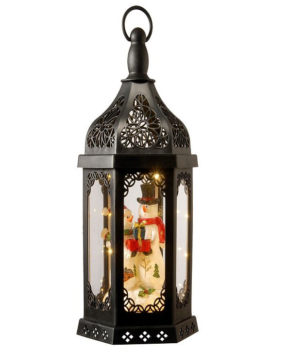 """National Tree Company National Tree 15"""" Christmas Lantern with Snowman Family Inside & Battery Operated Lights"""