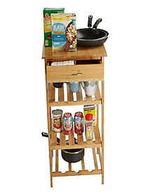 Bamboo 4 Tier Kitchen Island Storage Rack, Brown