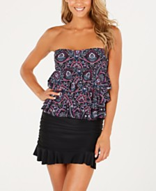 Island Escape Tiered Bandini Top & Swim Skirt, Created for Macy's