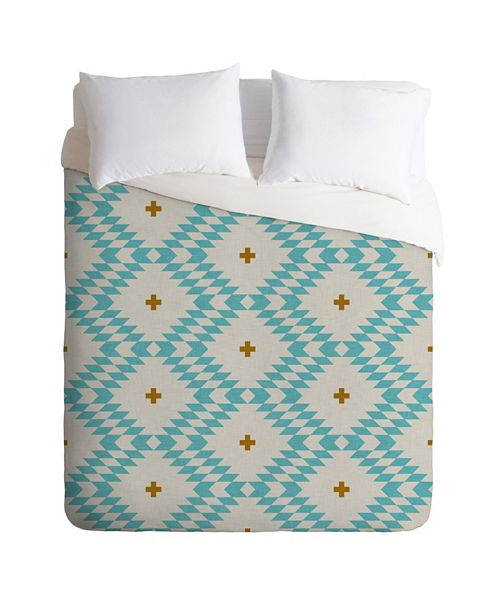 Deny Designs Holli Zollinger Native Natural Plus Turquoise Queen Duvet Set