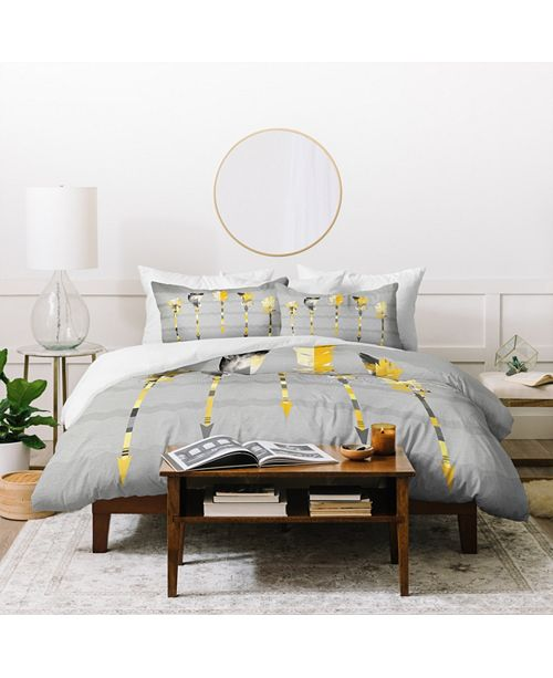 Deny Designs Iveta Abolina Gray Yellow Feathers King Duvet Set