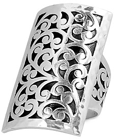 Lois Hill Decorative Scroll Large Statement Ring in Sterling Silver