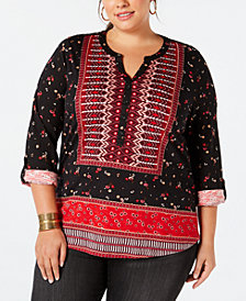 Style & Co Plus Size Printed Roll-Tab Top, Created for Macy's