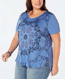 Style & Co Plus Size Graphic-Print High-Low T-Shirt, Created for Macy's
