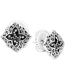 Lois Hill Scroll Work & Filigree Decorative Stud Earrings in Sterling Silver