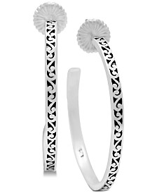 Lois Hill Decorative Scroll Hoop Earrings in Sterling Silver
