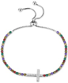 Tiara Multicolor Cubic Zirconia East-West Cross Bolo Bracelet in Sterling Silver