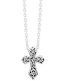 "Lois Hill Decorative Scroll Cross 16"" Pendant Necklace in Sterling Silver"