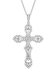 "Diamond Cross 18"" Pendant Necklace (1 ct. t.w.) in Sterling Silver"