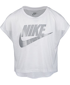 Nike Little Girls Futura Shine Logo-Print Cropped T-Shirt