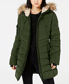 Madden Girl Juniors' Hooded Faux-Fur-Trim Coat