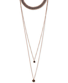 "Lucky Brand Rose Gold-Tone Stone Triple-Layer 12-1/2"" Choker Necklace"