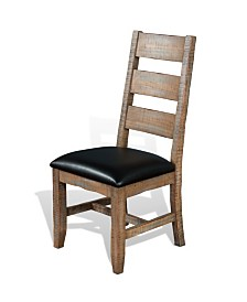 Puebla Driftwood Ladderback Chair, Cushion Seat
