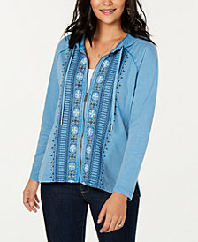 Style & Co Cotton Embroidered Zip Hoodie, Created for Macy's
