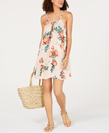 Roxy Cloud Pink Garden Lily Lace-Up Dress Cover-Up