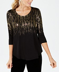 3/4-Sleeve Printed Top, In Regular and Petite, Created for Macy's