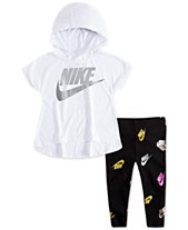 128060ee457b Nike Little Girls 2-Pc. Logo-Print Hoodie   Printed Leggings