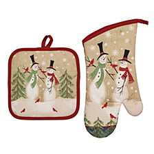 Tall Snowmen Oven Mitts and Pot Holders, Set of 2