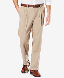 Dockers Men's Easy Comfort Relaxed-Fit Performance Stretch Wrinkle-Resistant Pleated Khaki Pants