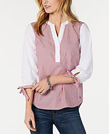 Tommy Hilfiger Cotton Striped Tie-Sleeve Split-Neckline Top, Created for Macy's