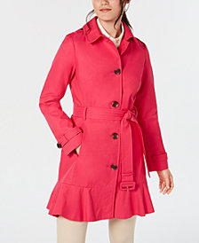 kate spade new york Belted Ruffle-Hem Trench Coat