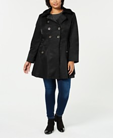 Via Spiga Plus Hooded Skirted Trench Coat