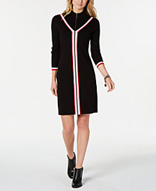 Tommy Hilfiger Zip-Front Iconic Sweater Dress, Created for Macy's