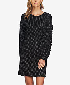 CeCe Dotted Puffed-Sleeve Shift Dress
